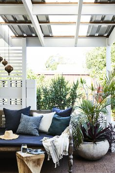 Blue global boho pillows for outdoor seating