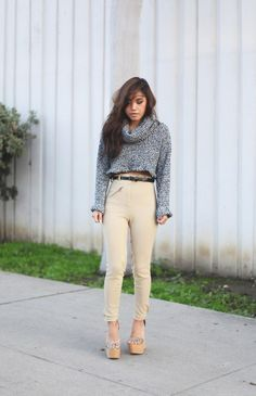 Shop this look on Kaleidoscope (pants, sweater, sandals, belt)  http://kalei.do/WWqELRU8rfZcDuSl