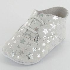 Chaussons bébé cuir étoiles Argent Dida (0-6 mois) : Mon petit chausson - Chaussons en cuir - Berceau Magique