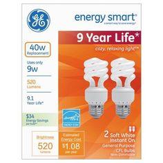 GE Compact Fluorescent Bulb, 9 Watts, Spiral, Soft White, 6 Per Pack, Multicolor