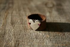 heart and leather ring