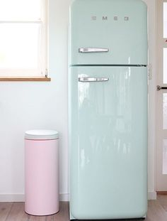 We love this pastel blue fridge.