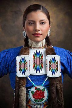 Beautiful Native American Princess in traditional dress