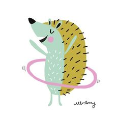 "A hula hoopin' hedgehog for today's prompt ""Begins with H."" I've gotten into hula hooping again because it's a fun way to get a little exercise and it's a mood booster too! Gotta get the heavy hula hoop tho! Try it!"