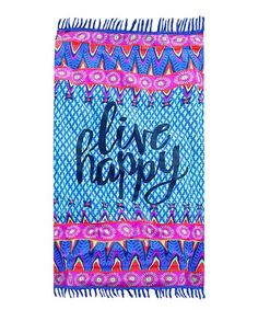 Fab Findz Blue & Pink Live Happy Ultrathin Sarong/Throw | zulily