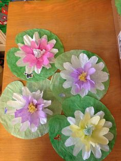 Lily pads made from two sizes of coffee filters and cupcake liners. Frog stickers top off this project.do hand prints for flowers instead of filters Frogs Preschool, Preschool Projects, Art Projects, Frog Activities, Spring Activities, Steam Activities, Frog Theme Classroom, Classroom Crafts, Summer Crafts