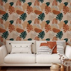 Monstera Leaves Peel and Stick Wallpaper - Canvas Wall Decal / 1 roll: 24W x 120H