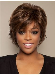 Smart Exquisite Polished Short Straight Full Lace 100% Human Hair Wigs 8 Inches