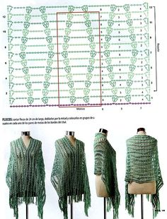 crochet scarf with very simple very lacy wave pattern - devofare Poncho Au Crochet, Pull Crochet, Mode Crochet, Crochet Shawls And Wraps, Crochet Scarves, Crochet Clothes, Knit Crochet, Crochet Diagram, Crochet Chart