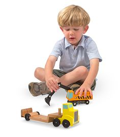 Trailer & Excavator Wooden Vehicles Play Set | Personalized Gifts | Melissa and Doug