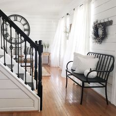 Farmhouse style staircases beautiful farmhouse country entryway with black stair railings entryway farmhouse home decor country entryway foyers and modern Black Stair Railing, Black Stairs, Black Bench, Farmhouse Stairs, Farmhouse Decor, Modern Farmhouse, Farmhouse Design, Farmhouse Style, Modern Country