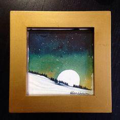 Moonrise Night Sky Watercolor Painting by ElissaSueWatercolors