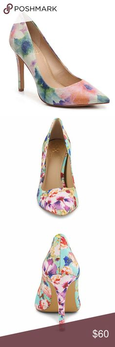 🆕️ Vince Camuto Callista Floral Pumps NITB - Beautiful pointy toe floral Vince Camuto pumps, are the perfect shoe to complete your Easter/spring outfit. Full description in photo 4. First 3 photos are stock and used for reference only. Last 2 are actual item for sale. Pretty pastel colors. Vince Camuto Shoes Heels