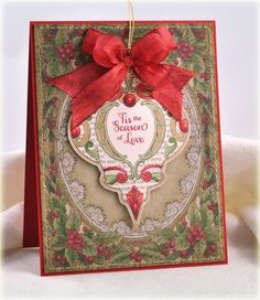 Ornament Christmas Card designed by Debbie Olson using Christmas Miral Ornaments and Christmas Holly Background stamp.