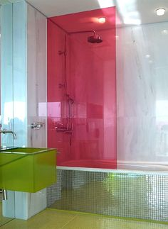 Colour shower screen and bath tiles