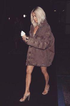 Kim Kardashian wearing Yeezy Season 6 Knit Tank Dress in Russet, Yeezy Season 6 Carpenter Coat in Oak and Yeezy Season 6 Minimal Heels in Cobblestone