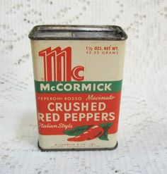Vtg McCormick Crushed Red Peppers Advertising Tin ~ nice Vintage Touch ~ SOLD