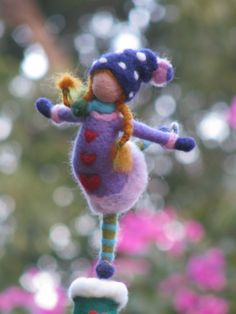 Christmas tree top -needle felted- little ice- skating girl