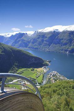 Stegastein Viewpoint has a drop of 650 meters, Norway #britairtrans