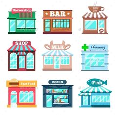 Buy Store And Shop Buildings Flat Icons Set by on GraphicRiver. Store and shop buildings flat icons set. Fast food, fish shop, book and pharmacy, milk and bar, coffe and barbershop. House Quilt Block, House Vector, Shrink Art, Shop Buildings, Home Icon, City Illustration, Digital Art Tutorial, Nursery Design, City Art