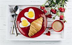 Download wallpapers breakfast, scrambled eggs, croissants, coffee, roses, romantic breakfast, breakfast in bed Romantic Breakfast, Breakfast In Bed, Food Wallpaper, Croissants, Scrambled Eggs, Roses, Wallpapers, Coffee, Heart