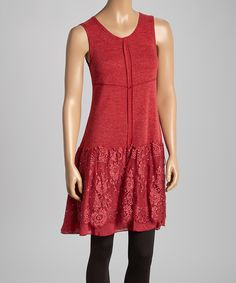 Take a look at the Red Lace Linen-Blend Sleeveless Tunic Dress on #zulily today!