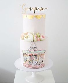 @sweetbakes_ is seriously the most amazingly talented soul  I cannot get over the beauty of this cake and its hand painted carousel  Topped with our custom name cake topper ✨  #glisteningoccasions #cake #cakes #caketopper #caketoppers #pink #gold #carousel #flower #flowers #peonies #birthday #girl #baby #love #happybirthday #style #party