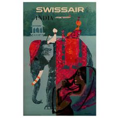Swiss Mid-Century Modern Period Original Travel Poster to India by Donald Brun