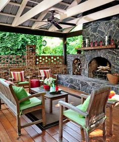 Outdoor fireplace and patio area Outdoor Living Areas, Outdoor Rooms, Outdoor Furniture Sets, Living Spaces, Outdoor Decor, Wicker Furniture, Outdoor Lounge, Plywood Furniture, Gazebo