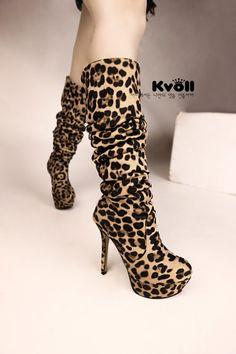 European Wind Leopard High-Heeled Knee Boots