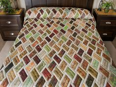 Batik Rust Green Gold and Cream Diamond Jubilee Quilt Photo 1