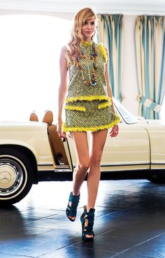 Yellow twill tweed top and skirt, Louis Vuitton