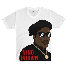Nino Brown Sublimation Men's V-Neck T-Shirt. A comfortable and lightweight 100% polyester v-neck t-shirt, made of a fine count yarn.    • Made in the USA    • 100% polyester construction   • Fabric weight 4.5 oz/yd² (153 g/m²)   • 30 singles    • Double rib neckband