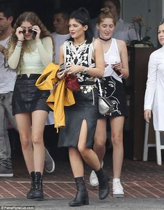Fashionable friends: The girls had all put a significant amount of effort into their outfits