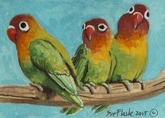 3 Love #Birds - 2015 by Sue Flask #ACEO Original Gouache Painting Card Miniature  #Miniature