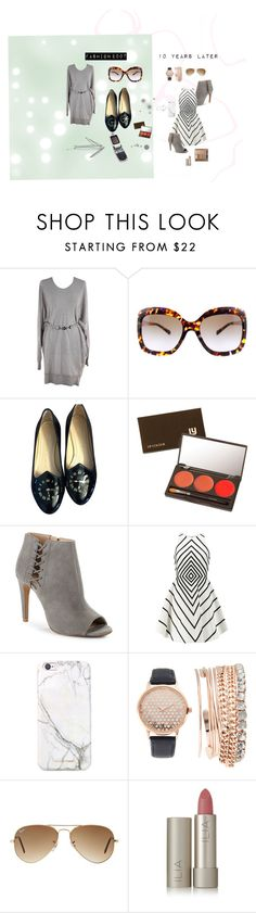 """""""Then & Now"""" by the-crazy-dog-lover ❤ liked on Polyvore featuring Versace, Michael Kors, Charlotte Olympia, Motorola, Louise Young Cosmetics, French Connection, Halston Heritage, russell+hazel, Jessica Carlyle and Ray-Ban"""
