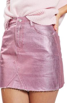 Moto High Waist Metallic Denim Miniskirt is perfect for a night out. Skip your normal jeans and wear this metallic skirt instead!