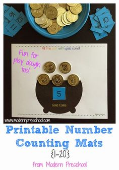 FREE printable pot of gold play dough (or gold coin!!) mat!  Download pot of gold counting mat, rainbow color play dough/pom pom mat, and color a rainbow with poem!