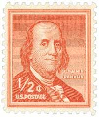Postage stamp printed in the USA, a portrait of President of Pennsylvania, the founder of the United States, Benjamin Franklin by Joseph Duplessis — Stock Image Old Stamps, Rare Stamps, Vintage Stamps, Vintage Tools, Vintage Paper, Postage Stamp Art, Valuable Postage Stamps, Benjamin Franklin, Rare Coins