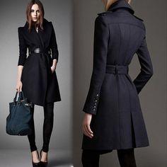 O envio gratuito de 2015 moda cinto de médio longo casaco de lã grande lapela militar outerwear das mulheres casaco feminino
