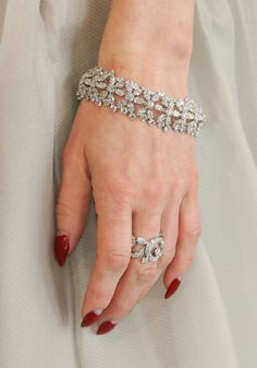 A detail view of model Dita Von Teese' jewelry is seen as she arrives at the 15th Annual Elton John AIDS Foundation Academy Awards viewing party held at the Pacific Design Center on February 25, 2007 in West Hollywood, California.