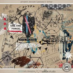 Project Mouse (Galaxy): Mixed Media Artsy by Britt-ish Designs and Sahlin Studio - Perfect for all of your Disney Tomorrowland and Star Wars layouts, in your scrapbookings or Project Life albums!!
