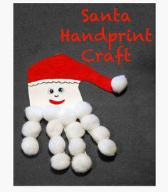 http://www.somedayilllearn.com/2012/12/07/santa-handprint-craft/ via Pinterest