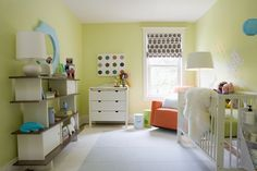 Awesome nursery design by Samantha Pynn - there's some pretty fantastic mod furniture and accessories in here. Swap the crib for a real bed and I'd hang in there. (: