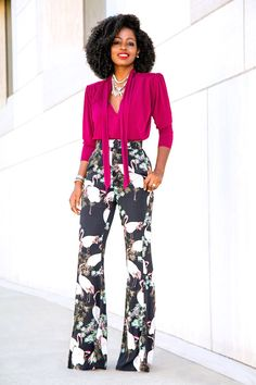 Style Pantry   Padded Shoulder Blouse + High Waist Flare Pants