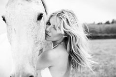 Girl and horse - black and white photography