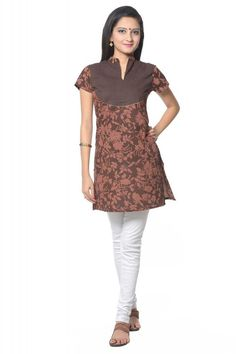 VASTRA VINOD WOMENS COTTON BROWN KURTI WITH LEGGING