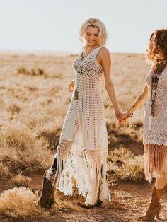 this would make a beautiful wedding dress for a bohemian bride! crochet cotton dress with long fringe