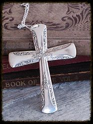Vintage Spoonhandle Cross Necklace Upcycled Spoon www.laughingfrogstudio.net