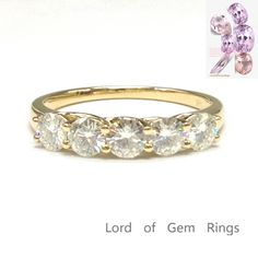 $399 Round Moissanite Engagement Ring Wedding Band 14K Yellow Gold 3.5mm 5 Stones
